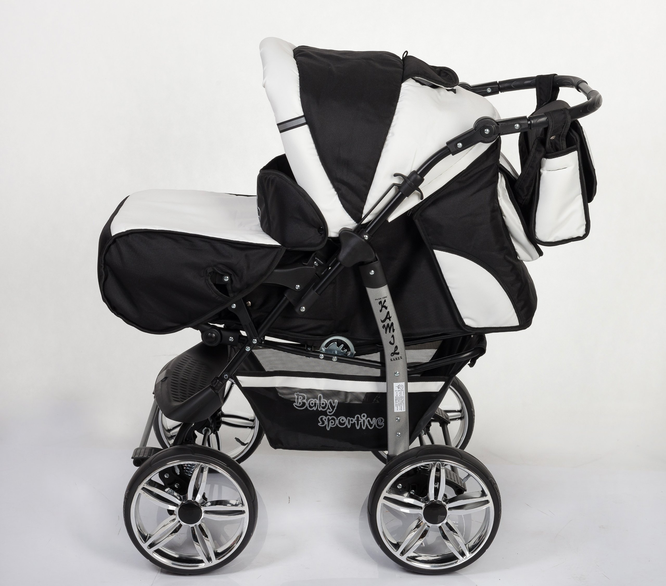 3-in-1 Travel System with Baby Pram, Car Seat, Pushchair & Accessories, Black & White   3