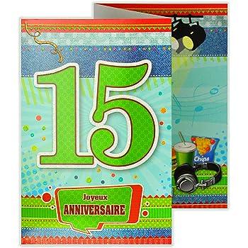 Afie 882116 Carte 3 Volets Joyeux Anniversaire 15 Ans Amazon Fr