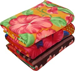 Zacharias Fleece Printed Single Blanket, 100x60-inch (Multicolour, PRINTED-BLANKET-PO3) - Pack of 3