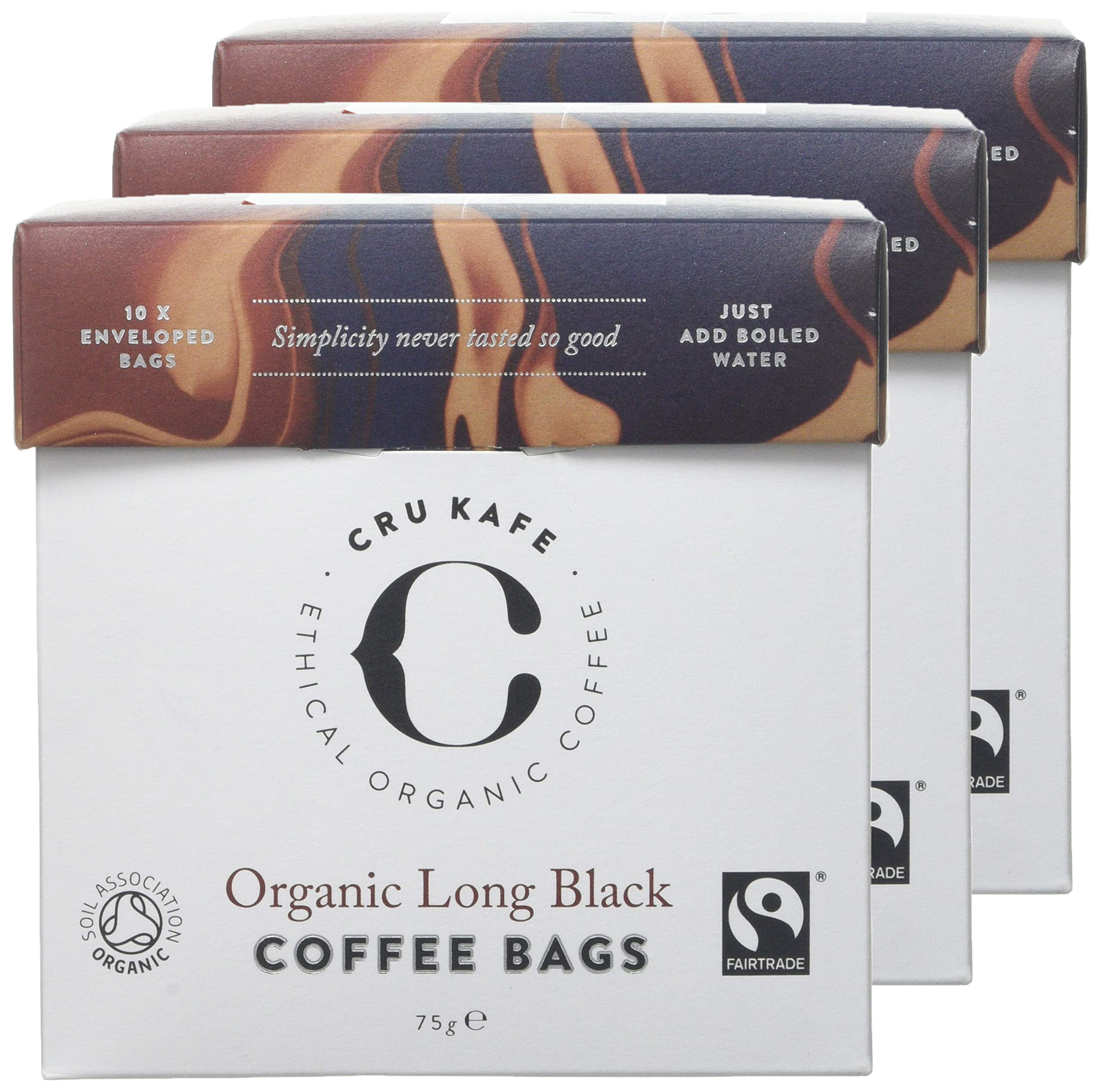 CRU Kafe Organic Coffee Bags | Strength 9 | Big Bodied & Smoky-Sweet Flavour | Organic, Fairtrade & Soil Association Certified | Convenient Coffee Bags | Just Add Water – 3 Boxes of 10 Bags