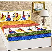 RajasthaniKart® Comfort Rajasthani Jaipuri Traditional Sanganeri Print 144 TC Cotton Double Size Bedsheet with 2 Pillow…