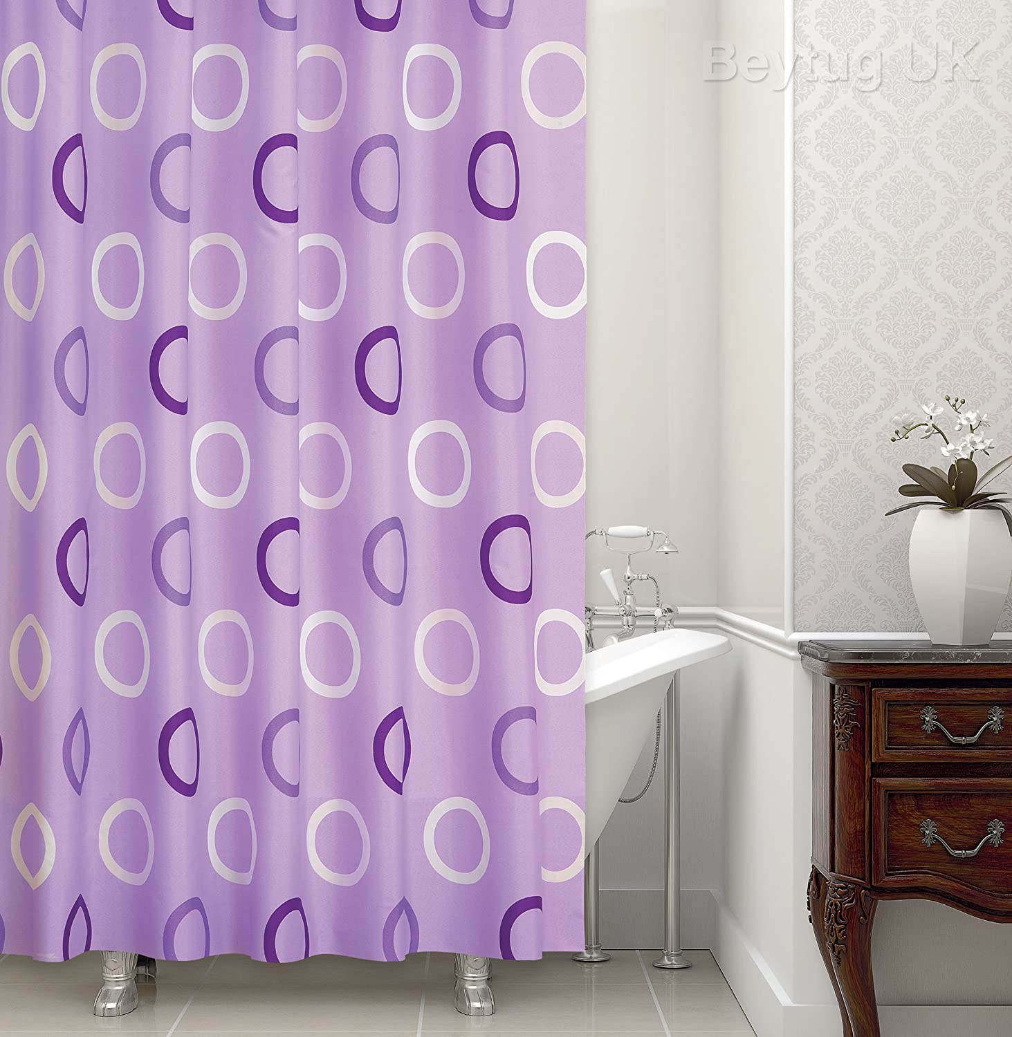 Beautiful lilac pattern shower curtain extra long - 180CM wide x ...
