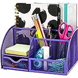 Exerz Organisateur de Bureau/Papeterie Organizer/Pot à Stylo/Bureau Ranger/Multifonctions Organisateur (EX348 Violet)