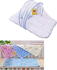 FARETO New Born Baby Mosquito Net Bed/Bedding Set/Toddler Mattress and Plastic Diapers Changing Mat, 25x18-inch (Blue)