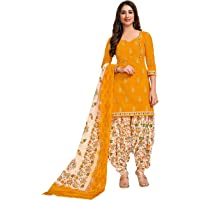 Miraan Cotton Printed Readymade Salwar Suit For Women(MIRAANSG118, Yellow)