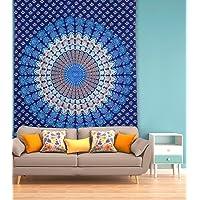 Miyanbazaz Textiles 100% Cotton Singal bedsheet Twin Size Indian Mandala Wall Tapestry Hanging Throw Bohemian Blue Tapestry
