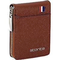 Storite PU Leather 9 Slot Vertical Credit Debit Card Holder Money Wallet Zipper Coin Purse for Men Women - Light Brown