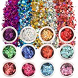 SAVITA 12 Kleuren Iriserende Glittervlokken Holografische Nagel Pailletten Dikke Glitter Hars Epoxy Body Glitter (Zeshoekige