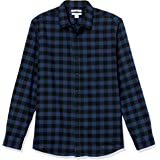 Amazon Essentials - Camicia in flanella a maniche lunghe, a quadri, da uomo, Slim Fit