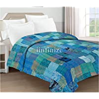 iinfinize Indian 108 x 108 Handmade Patchwork Kantha Standard Quilt Traditional Embroidery Unique Sky Blue Color Silk…