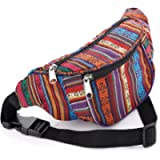 Multi-colour tribal print coloured hip belt, bum bag, fanny pack