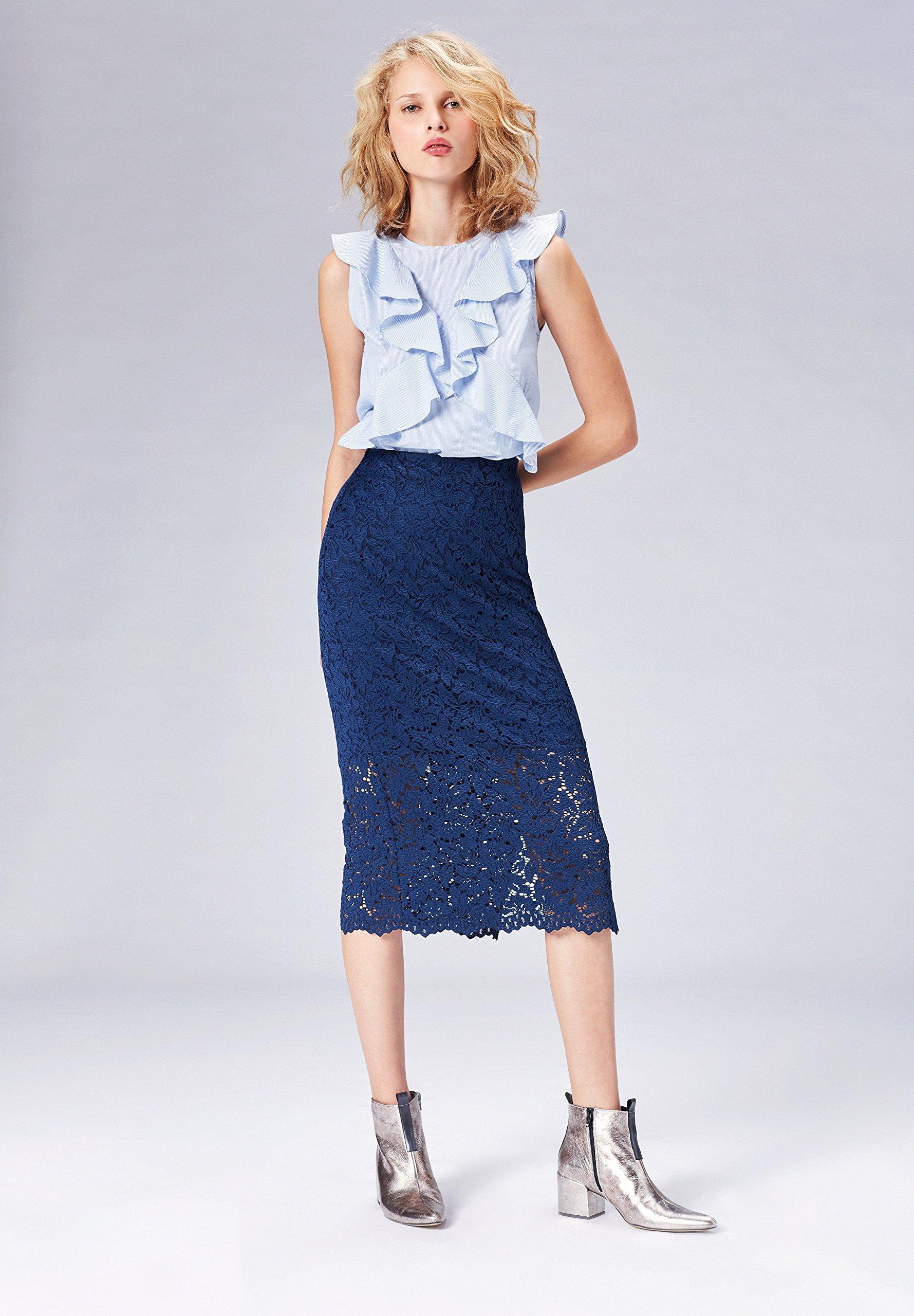 on sale 6f0b6 ce0c4 Marchio Amazon - find. Gonna Tubino Donna con Ricami Crochet