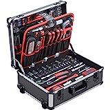 Meister Werkzeugtrolley 156-teilig - Werkzeug-Set - Mit Rollen - Teleskophandgriff / Profi Werkzeugkoffer befüllt / Werkzeugk