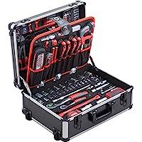 Meister Werkzeugtrolley 156-teilig - Werkzeug-Set - Mit Rollen - Teleskophandgriff / Profi Werkzeugkoffer befüllt…