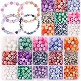 Colle 15 Couleurs Perle Craquel/é 8mm Perle Ronde Pierre Naturelle Perles de Verre Craquel/ées pour la Fabrication Perle Bijoux Bracelet Collier