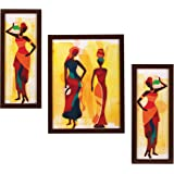 Indianara 3 Pc Set of Still Life Paintings Without Glass 5.2 X 12.5, 9.5 X 12.5, 5.2 X 12.5 Inch