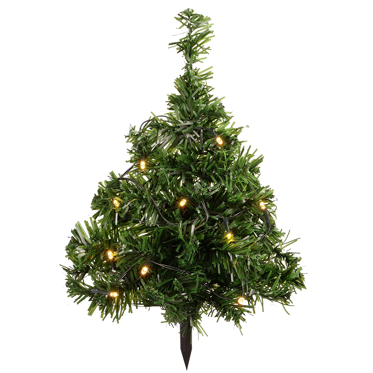 WeRChristmas Solar Powered Mini Christmas Trees with Ten Warm ...