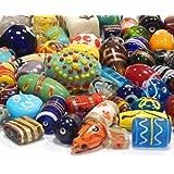 Glasperlen Mix Indian Posten Glas Perlen Beads Silberfolie Lampwork Rund Oval Bunt Perlenset Bastelset Für Schmuck zur Schmuckherstellung von Halsketten Armband DIY (250)