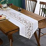 Inmerget Chemin de table court en coton et lin avec broderie florale pour décoration de maison cuisine mariage banquet 90 cm
