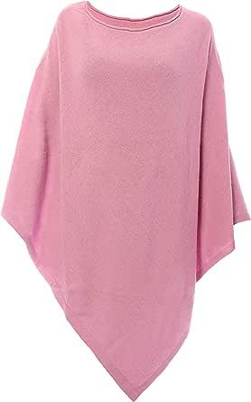 Fantasie Terrene Poncho Cashmere Donna, Fatto a Maglia in Filato Misto Cashmere di Alta qualità. Made in Italy. Colore Rosa Acceso