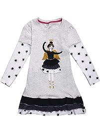 fb8a20f7bfa88b VIKITA Mädchen Sommer Streifen Kurzarm Baumwolle T-Shirt Kleid Gr. 80-128