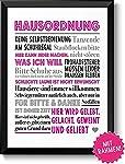 Lustige Hausordnung Geschenk Bild mit Rahmen Geschenkidee zum Geburtstag Ostern Einzug Richtfest Hochzeit Einweihung...