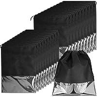 20er Schuhbeutel, Wasserabweisend Schuhtasche Staubdicht Schuhsack Stoffbeutel mit Zugband/Transparente Fenste, Ideal…