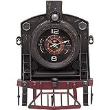 Vintage Locomotive Train Steam Engine Wall Clock With Hooks - Novelty Clock Metal Train Home Decoration 33cm