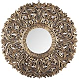 The Urban Store Decorative Hand Crafted Wooden Mirror Frame in Antique Gold Finish (30 x 30 Inch)