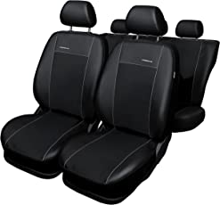 Auto Sitzbezüge, komplettes Set, individuell 100% Angepasst, sehr Robuste Materialien, Kunstleder und Polyurethanschaum, Farbe Schwarz, Premium