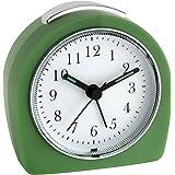 TFA Dostmann analog väckarklocka, grön, liten väckarklocka rese-väckarklocka, med belysning, 60.1021.04, utan tickande, retro