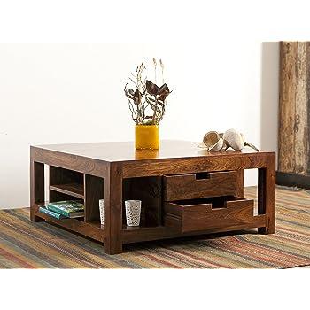 KARAKTER MÖBEL Couchtisch Wohnzimmertisch Tisch Akazie Massiv Holz 90x60cm  4 Schubladen Modern
