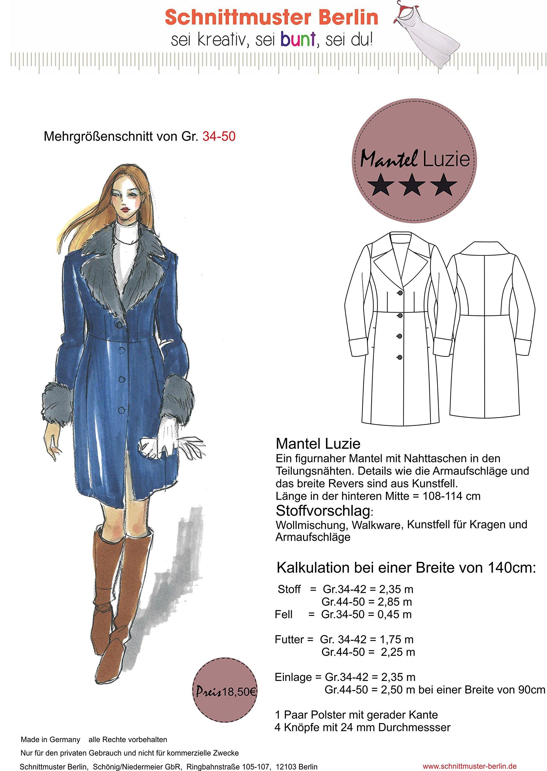 separation shoes 80347 0ef2b Schnittmuster Berlin: 849 Wintermantel Luzie Damen Mantel Einzelgrößen oder  farbige Mehrgrößenschnitte 34-50