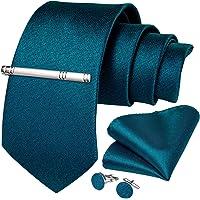 DiBanGu Men's Plain Tie Pocket Square Woven Necktie Silk Handkerchief Cufflink Clip Set Formal