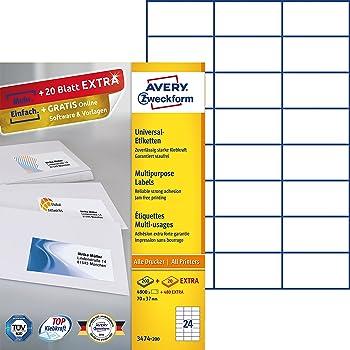 Avery Zweckform 3474-10 Adressetiketten (A4, Papier matt, 240 ...