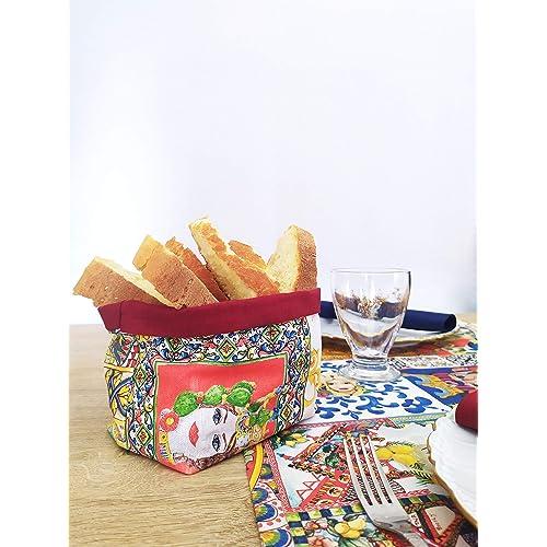 Porta pane in stile siciliano double face, fatto a mano, decorazioni tavola
