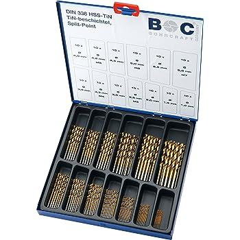 Bohrcraft Spiralbohrerset HSS-TiN DIN 338 Typ N in BC-Industriekassette, 130-teilig, 1-6 x 0,5 mm steigend +3,3/4,2 / MT 130, 1 Stück, 11301310130