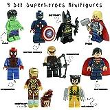 Kids Corner Productions® - Super Heroes Figures 9 Set Mini Figures Marvel Kids Corner Productions®nd DC Comics - Party Bag with Batman, Spiderman, IronMan, Thor, DeadPool, Wolverine