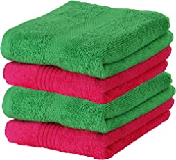 Urban Hues 600 GSM Cotton Hand Towels, Pink & Green - Set of 4 (24 Inch x 16 Inch)