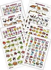 Spectrum Educational Wall Chart (Set of 8) : Set 3 (English Alphabets, Birds, Hindi Varnamala, Flowers, Fruits, Domestic Animals, Vegetables & Wild Animals)