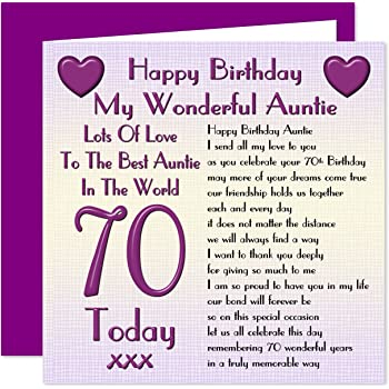 Auntie 70th Happy Birthday Card