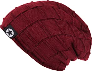 Noise Unisex Winter Maroon Block Knitted Beanie Cap