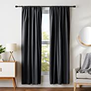AmazonBasics Room Darkening Blackout Curtain Set of 2 with Tie Backs - (7 Feet - Door) 52