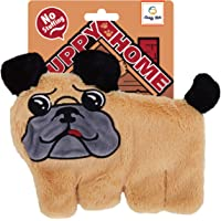 Goofy Tails Puppy Home Pug Face Unstuffed Crinkle Squeaky Plush Toy for Puppies for Small & Medium Breeds