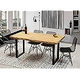 Gozos Berne Table à Manger Moderne avec Plateau en Bois Massif Brut d'Epicéa pour 6 Personnes│Table de Cuisine et de Salon av