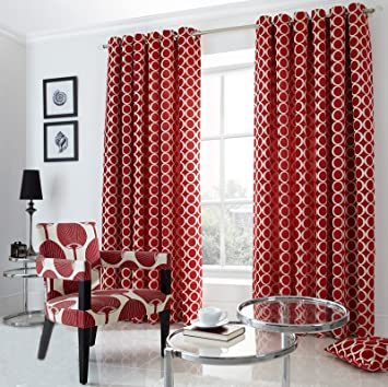 Red Curtains amazon red curtains : Just Contempo Retro Chenille Eyelet Lined Curtains, Red, 90x90 ...
