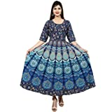 Dhruvi Party and Casual Wear Jaipuri Print Long Cotton Maxi Dress for Women (Free Size Up to XXL)