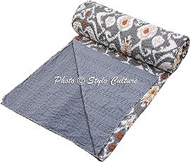 Stylo Culture Cotton Indian Quilt Double Bedspread (274x228cm, Grey)