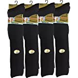 12 pairs Men's 100% Pure Cotton ribbed long hose socks, Knee high Pure Cotton Socks (Black) Size: UK 6/11, EUR 39/45