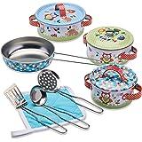 """Wobbly Jelly - """"Woodland Animals"""" barnköksset - 11 st leksakskrukor och stekpannor för barn - leksak kök tillbehör"""